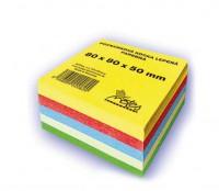 Poznámkový blok kocka 8x8x5cm lepená 5-farebná