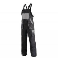 Pánske montérkové nohavice CXS s náprsenkou, čierne/sivé,52