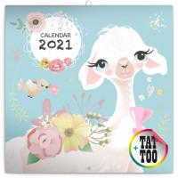 Poznámkový kalendár Šťastné lamy 2021, 30 × 30 cm