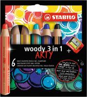 Pastelky STABILO woody 3v1 sada so strúhadlom/6ks