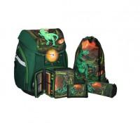 Školská taška - 5-dielny set, PRO LIGHT T-Rex, LED