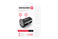 Swissten CL Adapter 2x USB 4,8A metal cierny