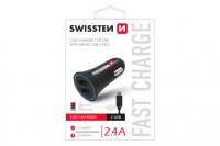 Swissten CL Adapter 2,4A power 2x USB+kabel micro USB