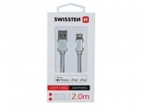 Kábel dátový Swissten Iphone textil USB/Lightning MFi 2m strieborny