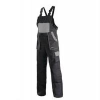 Pánske montérkové nohavice CXS s náprsenkou, čierne/sivé,58