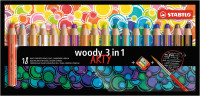 Pastelky STABILO woody 3v1 sada so strúhadlom/18ks