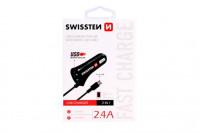 Swissten CL Autonabijacka micro USB a USB 2,4A power