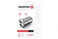 Swissten CL Adapter 2x USB 4,8A power strieborna