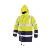 Bunda reflexná pánska, nepremokavá zimná, CXS, žltá/modrá XL