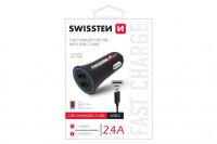 Swissten CL Adapter 2,4A power 2x USB+kabel USB-C