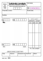 Lekársky predpis, A6, 100 listov,  lepený biely (IGAZ 229)