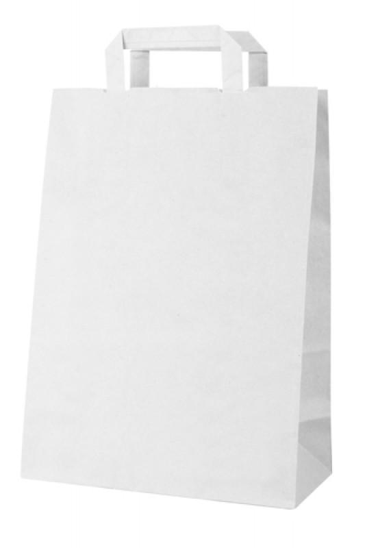 1edba0ef8 EKO taška s plochou rúčkou, bielej farby je vyrobená z papiera. Minimálna  objednávka 50ks. Možnosť potlače tašky, pre viac informácií nás neváhajte  ...