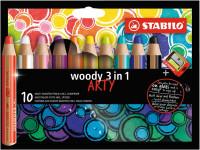 Pastelky STABILO woody 3v1 sada so strúhadlom/10ks